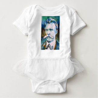 friedrich nietzsche - watercolor portrait baby bodysuit