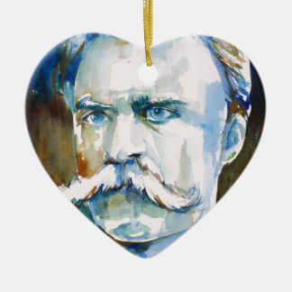 friedrich nietzsche - watercolor portrait ceramic ornament