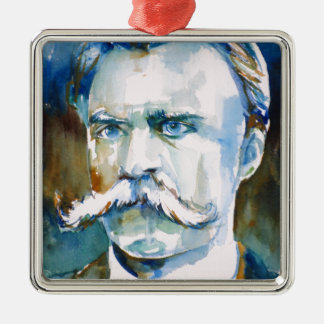 friedrich nietzsche - watercolor portrait metal ornament
