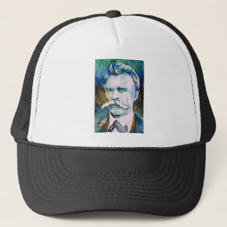 friedrich nietzsche - watercolor portrait trucker hat