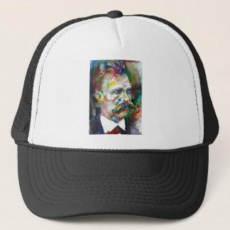 friedrich nietzsche - watercolor portrait trucker hat