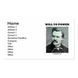 Friedrich Nietzsche Will To Power Pack Of Standard Business Cards