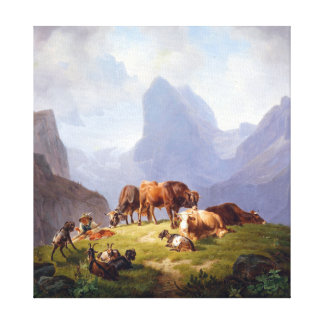 Friedrich Voltz On the Alm Canvas Print