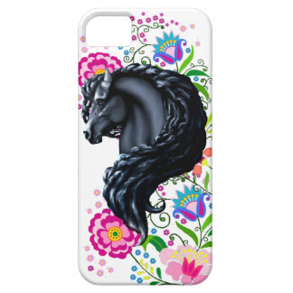Frieisan stallion, folk flowers case for the iPhone 5
