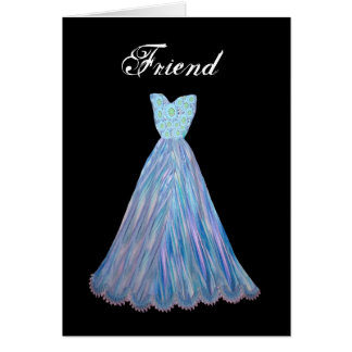 FRIEND Be My Bridesmaid - Customizable - BLUE Gown Greeting Card