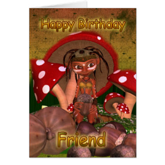 Friend Birthday Card With Cute Modern Elf