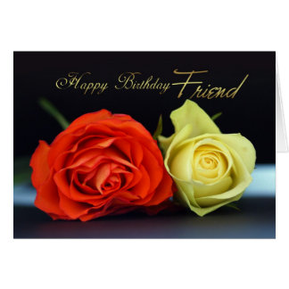 Friend Birthday Card With Orange And Cream Roses