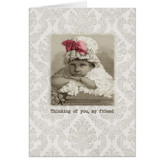 Friend Birthday - Vintage Girl in Bonnet Card