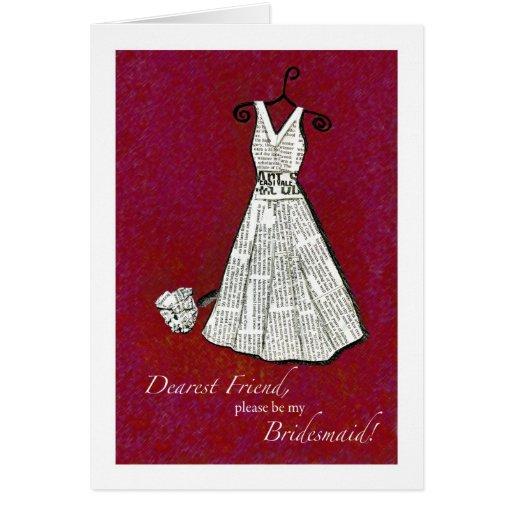 Friend, Bridesmaid - Newspaper Dress Cards