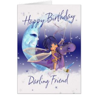 Friend Cute Birthday card, purple dragon with fair Card