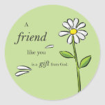 Friend Gift of God, Daisy on Green, Religious Round Sticker