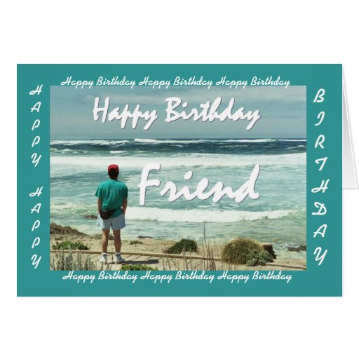FRIEND - Happy Birthday - Man and Ocean Waves Greeting Cards