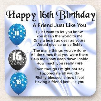 Friend Poem - 16th Birthday - Blue design Drink Coasters