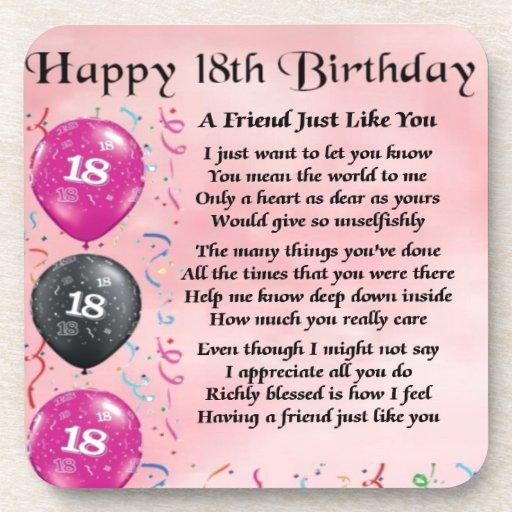Friend Poem 18th Birthday Beverage Coaster