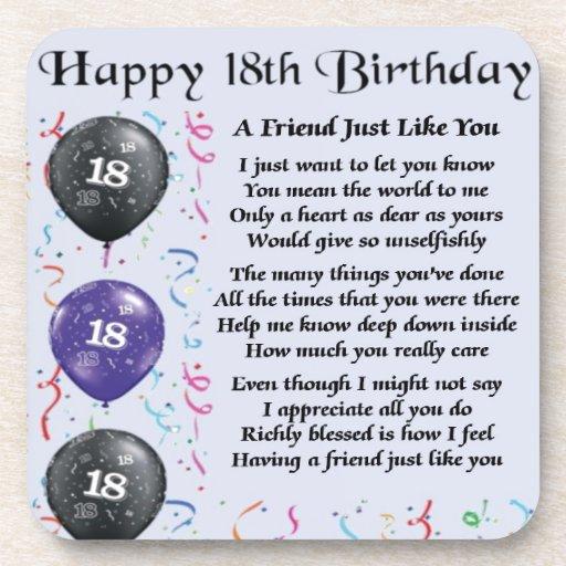 Friend Poem - 18th Birthday - Blue Design Coaster