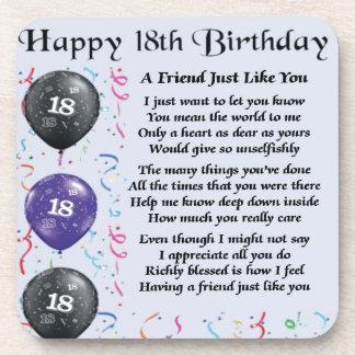 Friend Poem 18th Birthday Coasters