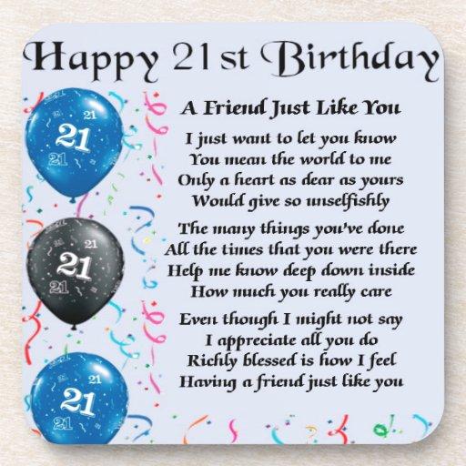 Friend Poem - 21st Birthday - Blue Beverage Coaster