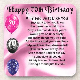 Friend poem - 70th Birthday Beverage Coaster