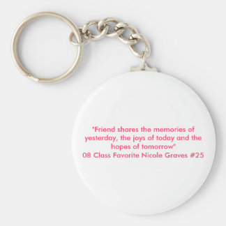"""""""Friend shares the memories of yesterday, the j... Basic Round Button Key Ring"""