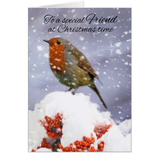 Friend Winter Holiday Robin In The Snow Greeting Card