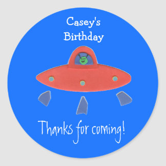 Friendly alien birthday favor label round sticker