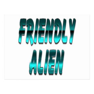 Friendly Alien Blue Postcard