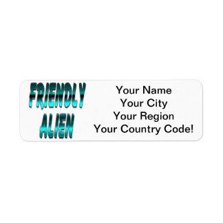 Friendly Alien Blue Return Address Label