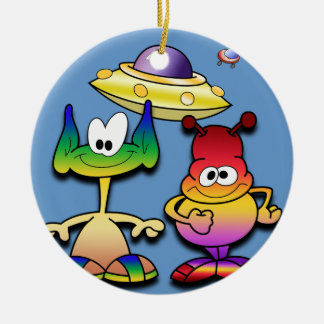 Friendly Aliens and a Flying Saucer Ceramic Ornament