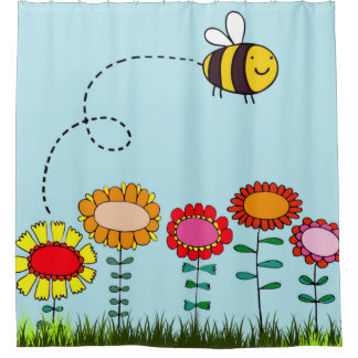 Friendly Bee Flying Above Flowers on Light Blue Shower Curtain