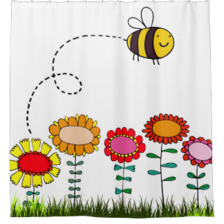 Friendly Bee Flying Above the Flowers on White Shower Curtain