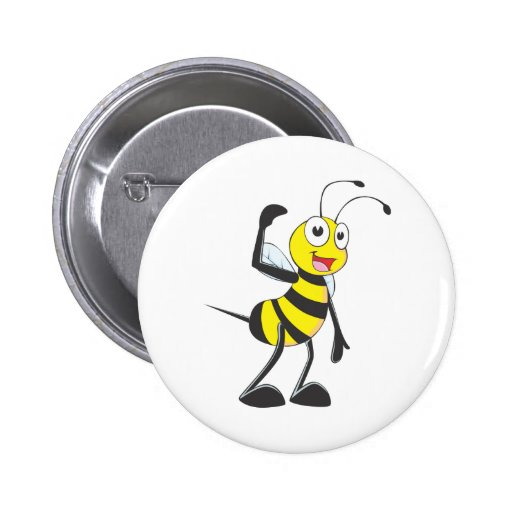 Friendly Bee Inviting You Button