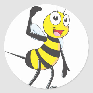 Friendly Bee Inviting You Round Sticker