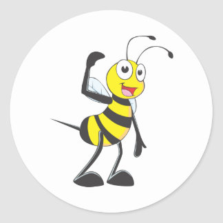 Friendly Bee Inviting You Round Stickers