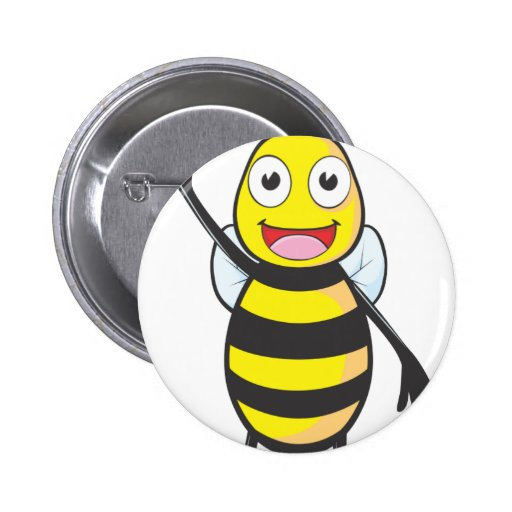 Friendly Bee Waving to You Button