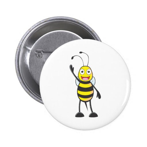 Friendly Bee Waving to You Pins