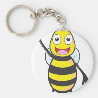Friendly Bee Waving to You Basic Round Button Key Ring
