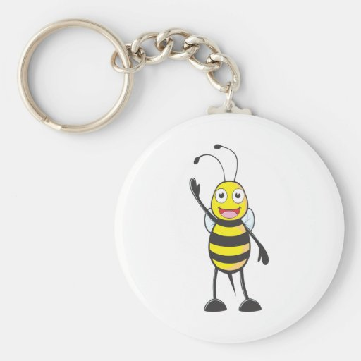 Friendly Bee Waving to You Key Chains