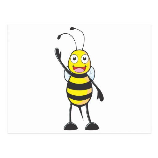 Friendly Bee Waving to You Postcards