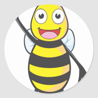 Friendly Bee Waving to You Round Stickers