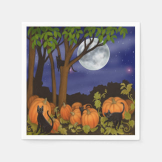 Friendly Black Cats in Pumpkin Patch Halloween Nap Disposable Napkins