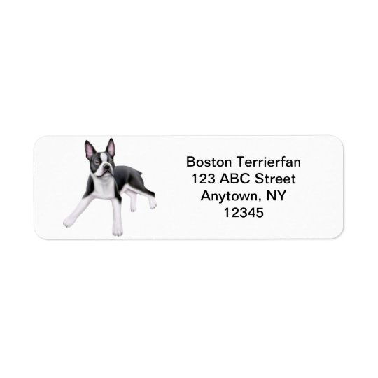 Friendly Boston Terrier Customisable Return Address Label