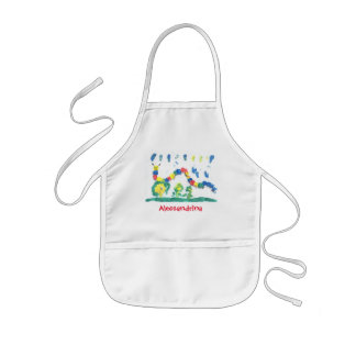 Friendly Bright Caterpillar with Custom Name Kids Apron
