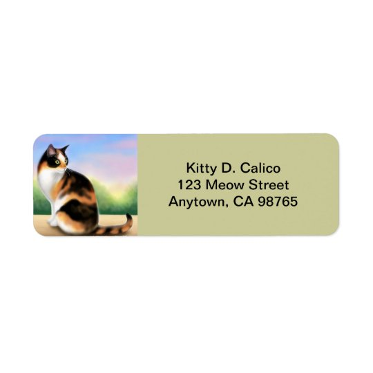 Friendly Calico Cat Customisable Return Address Label