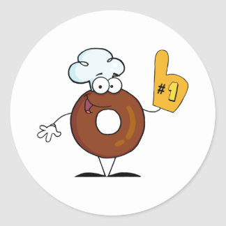 Friendly Donut Cartoon Character Number One Stickers