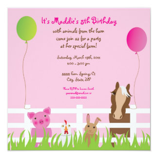 Friendly Farm Animals Birthday Girl Invitation