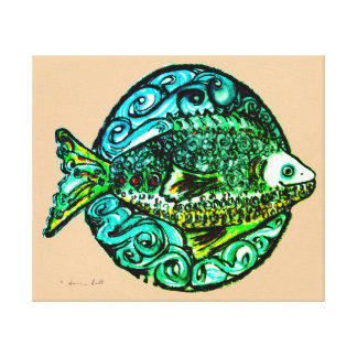 Friendly fish wrapped canvas in bright colors