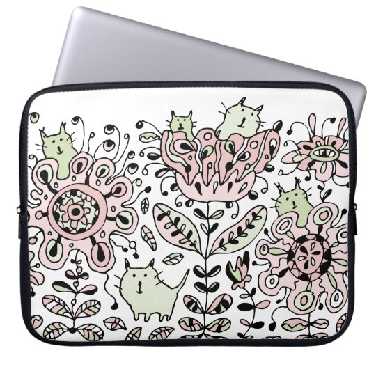 Friendly Flower Cats Laptop Sleeve