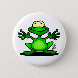 Friendly Frog 6 Cm Round Badge