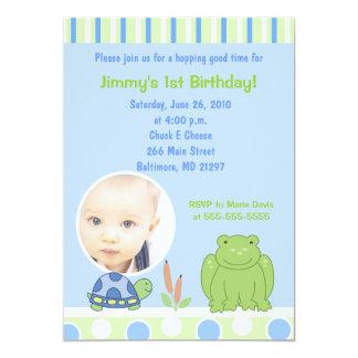 Friendly Frog & Turtle Photo Birthday Invitation