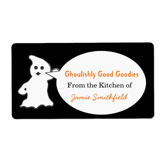 Friendly Ghost Halloween Kitchen Labels